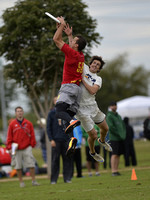 FRISCO, TX: Beau Kittredge (Revolver #50) scores over a Sub Zero defender in bracket play at the USA Ultimate National Championships. Friday, October 18, 2013. ©  Brian Canniff for UltiPhotos.com.