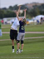 FRISCO, TX: Brute Squad catches a pass over Nemesis at the USA Ultimate National Championships. Friday, October 18, 2013. ©  Brian Canniff for UltiPhotos.com.