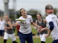 FRISCO, TX: Amy Hudson (Washington, DC Scandal #24) throws to teammate in the game against Phoenix (Raleigh, NC) at the USA Ultimate National Championships. Friday, October 18, 2013. ©  Brian Canniff