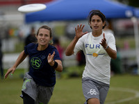 FRISCO, TX: Lakshmi Narayan (Fury #66) prepares to catch a disc past a Brute Squad at the USA Ultimate National Championships. Friday, October 18, 2013. ©  Brian Canniff for UltiPhotos.com.