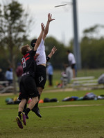 FRISCO, TX: Jeff Wodatch (#45 Truck Stop, Washington, DC) catches a pass in the game against Chain Lightning (Atlanta, GA) in bracket play at the USA Ultimate Men's National Championships. Friday, Oct
