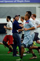 Garnet Valley, PA: Players vying for a spot on Major League Ultimate's Philadelphia Spinners test their skills at the first 2014 combine. Coach Billy Maroon offers encouragement during the 'beep test'