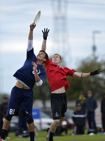 FRISCO, TX: Tyler Degirolamo (Doublewide #81) blocks a pass to Jackson Kloor (Johnny Bravo #24) in the elimination play at the USA Ultimate National Championships. Friday, October 18, 2013. ©  Brian C