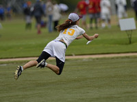 FRISCO, TX: Marie Laurenza (Nightlock #13) attempts a layout score in the game against Showdown at the USA Ultimate National Championships. Friday, October 18, 2013. ©  Brian Canniff for UltiPhotos.co